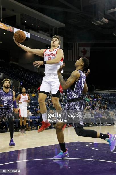 Dustry Hannahs of the Memphis Hustle goes to the basket against the Stockon Kings during a GLeague game on December 29 2018 in Stockton California...