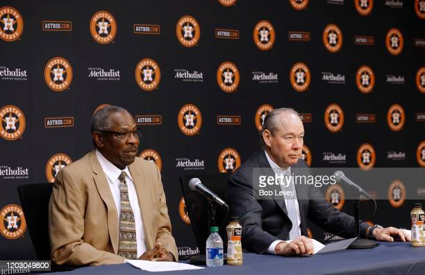 Dusty Baker left and Houston Astros owner Jim Crane take questions during a press conference as Baker is introduced as their new manager at Minute...