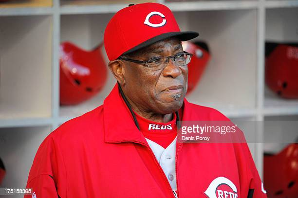 Dusty Baker manager of the Cincinnati Reds looks on before a baseball game against the San Diego Padres at Petco Park on July 29 2013 in San Diego...