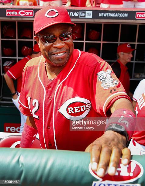 Dusty Baker of the Cincinnati Reds seen before the game against the Los Angeles Dodgers at Great American Ball Park on September 7 2013 in Cincinnati...