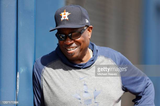 Dusty Baker of the Houston Astros looks on during a team workout at FITTEAM Ballpark of The Palm Beaches on February 18, 2020 in West Palm Beach,...