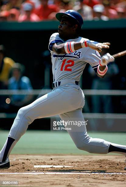 Dusty Baker of the Los Angeles Dodgers follows through on a swing during a 1980 season game