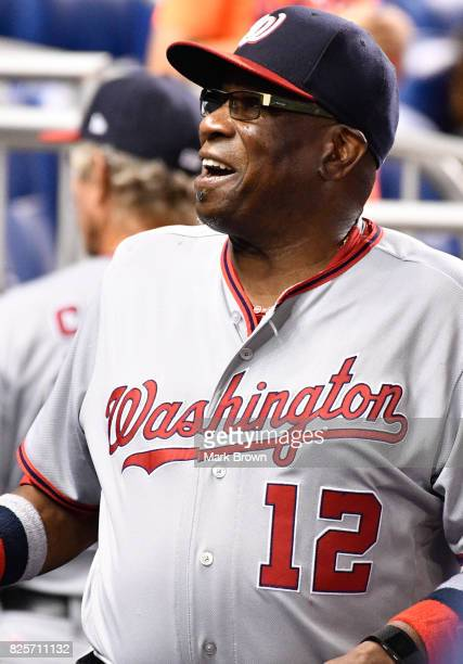 Dusty Baker of the Washington Nationals in action during the game between the Miami Marlins and the Washington Nationals at Marlins Park on July 31...