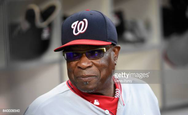 Dusty Baker of the Washington Nationals looks on before a baseball game against the San Diego Padres at PETCO Park on August 18, 2017 in San Diego,...
