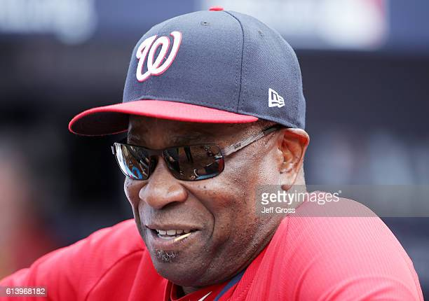 Dusty Baker of the Washington Nationals looks on prior to game four of the National League Division Series against the Los Angeles Dodgers at Dodger...