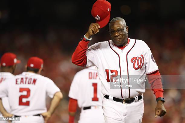 Dusty Baker of the Washington Nationals tips his cap prior to game one of the National League Division Series at Nationals Park on October 6, 2017 in...
