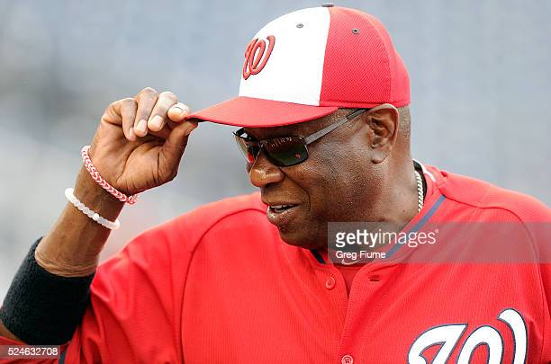 Dusty Baker of the Washington Nationals watches batting practice before the game against the Philadelphia Phillies at Nationals Park on April 26 2016...