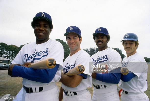 Dusty Baker Steve Garvey Reggie Smith and Ron Cey of the Los Angeles Dodgers poses together for this portrait during Major League Baseball spring...