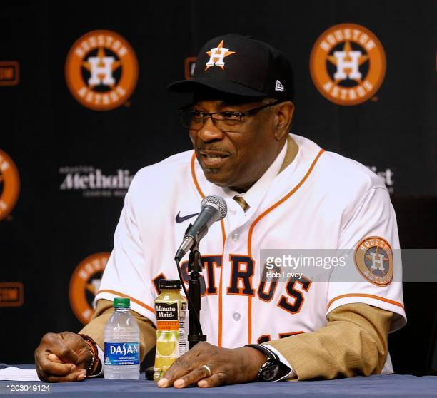 Dusty Baker takes questions from the media during a press conference to introduce him as their new manager at Minute Maid Park on January 30, 2020 in...