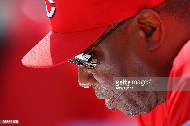 Dusty Baker the Manager of the Cincinnati Reds is pictured against the New York Mets during the game on May 5, 2010 at Great American Ballpark in...