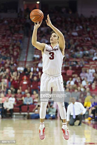 Dusty Hannahs of the Arkansas Razorbacks shoots a jump shot during a game against the LSU Tigers at Bud Walton Arena on January 21 2017 in...