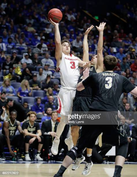Dusty Hannahs of the Arkansas Razorbacks shoots the ball against the Vanderbilt during the semifinals of the SEC Basketball Tournament at Bridgestone...