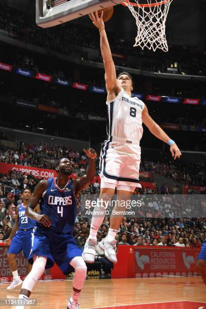 Dusty Hannahs of the Memphis Grizzlies goes to the basket against the LA Clippers on March 31 2019 at STAPLES Center in Los Angeles California NOTE...