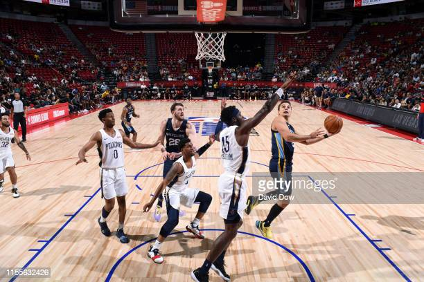 Dusty Hannahs of the Memphis Grizzlies goes to the basket against the New Orleans Pelicans during the Semifinals of the Las Vegas Summer League on...