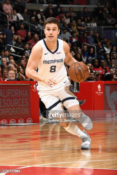 Dusty Hannahs of the Memphis Grizzlies handles the ball against the LA Clippers on March 31 2019 at STAPLES Center in Los Angeles California NOTE TO...