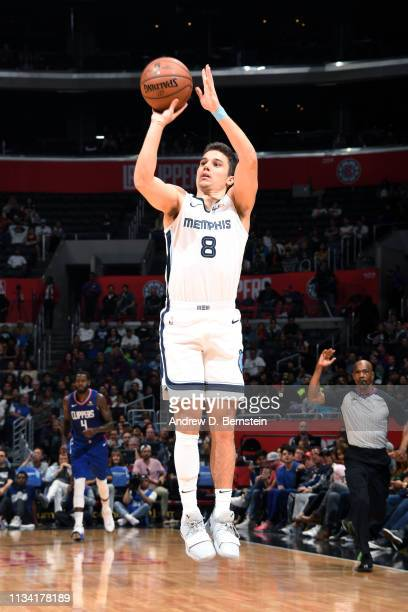 Dusty Hannahs of the Memphis Grizzlies shoots the ball against the LA Clippers on March 31 2019 at STAPLES Center in Los Angeles California NOTE TO...