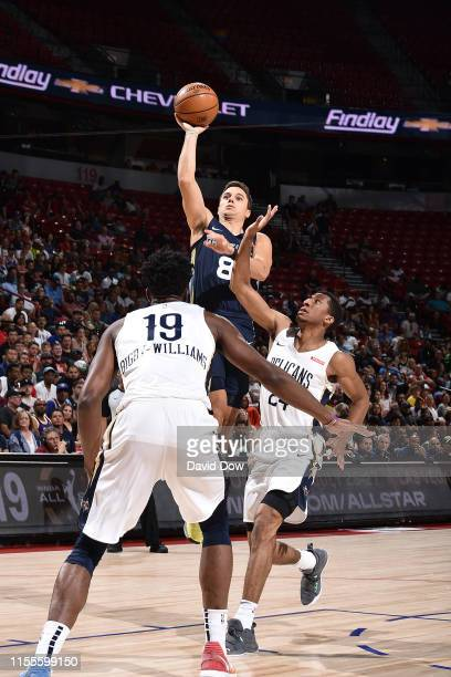 Dusty Hannahs of the Memphis Grizzlies shoots the ball against the New Orleans Pelicans during the Semifinals of the Las Vegas Summer League on July...