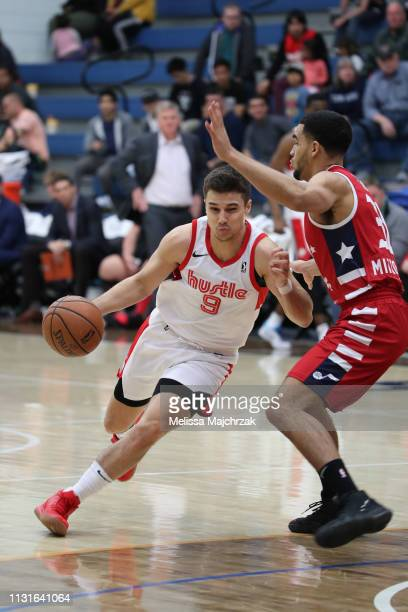 Dusty Hannahs of the Memphis Hustle drives against Naz MitrouLong of the Salt Lake City Stars on January 19 2019 in Taylorsville Utah NOTE TO USER...
