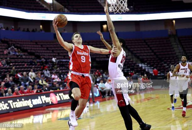 Dusty Hannahs of the Memphis Hustle drives to the basket for a layup against the Sioux Falls Skyforce during an NBA GLeague game on March 11 2019 at...