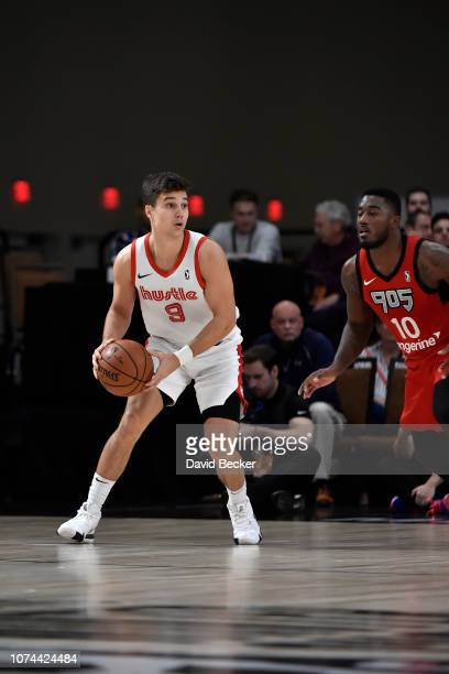 Dusty Hannahs of the Memphis Hustle handles the ball agains the Raptors 905 during the NBA G League Winter Showcase at Mandalay Bay Events Center in...