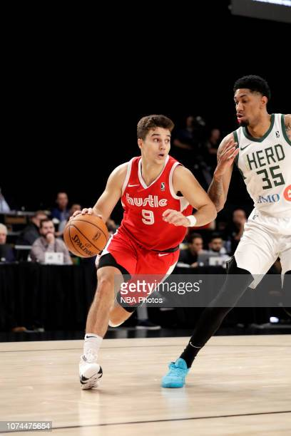 Dusty Hannahs of the Memphis Hustle handles the ball against the Wisconsin Herd during the NBA G League Winter Showcase on December 20 2018 at...
