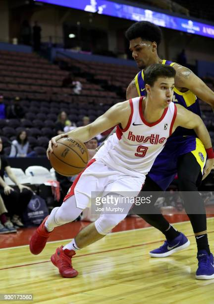 Dusty Hannahs of the Memphis Hustle handles the ball against the Santa Cruz Warriors during an NBA GLeague game on March 10 2018 at Landers Center in...
