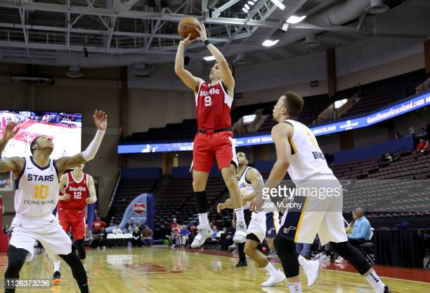 Dusty Hannahs of the Memphis Hustle shoots a jump shot against the Salt Lake City Stars during an NBA GLeague game on February 20 2019 at Landers...