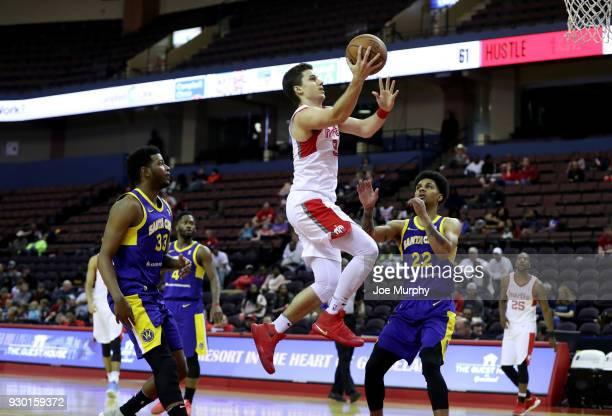 Dusty Hannahs of the Memphis Hustle shoots a lay up against the Santa Cruz Warriors during an NBA GLeague game on March 10 2018 at Landers Center in...