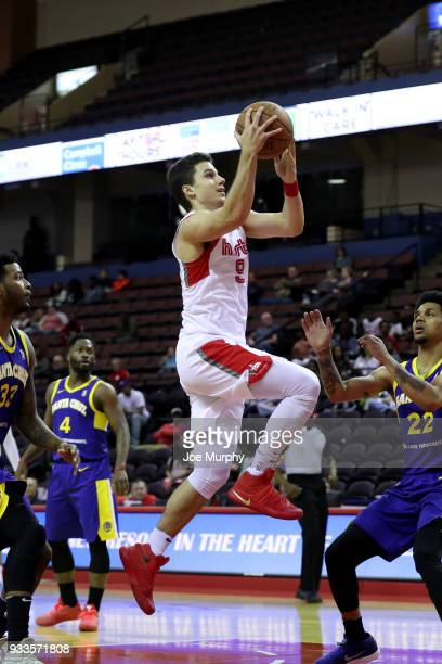 Dusty Hannahs of the Memphis Hustle shoots the ball against the Santa Cruz Warriors during an NBA GLeague game on March 10 2018 at Landers Center in...