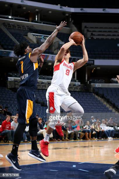 Dusty Hannahs of the Memphis Hustle shoots the ball during the game against the Salt Lake City Stars on November 24 2017 at FedEx Forum Memphis...
