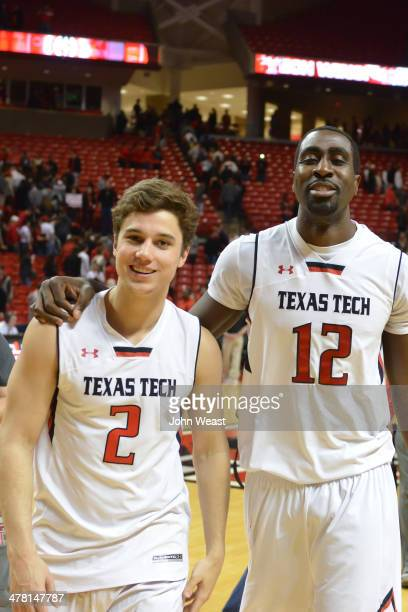 Dusty Hannahs of the Texas Tech Red Raiders and Kader Tapsoba of the Texas Tech Red Raiders after the game against the Texas Longhorns on March 8...