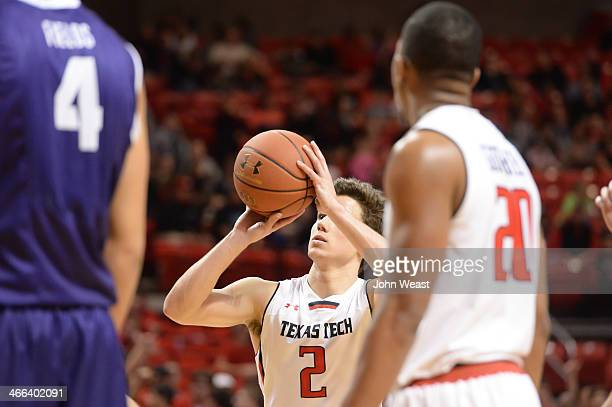 Dusty Hannahs of the Texas Tech Red Raiders shoots a free throw during game action against the TCU Horned Frogs on February 01 2014 at United Spirit...