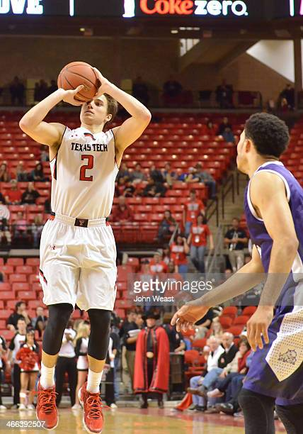 Dusty Hannahs of the Texas Tech Red Raiders shoots the ball during game action against the TCU Horned Frogs on February 01 2014 at United Spirit...