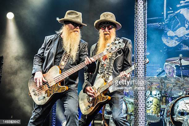 Dusty Hill and Billy Gibbons from ZZ Top perform at L'Olympia on July 27 2012 in Paris France