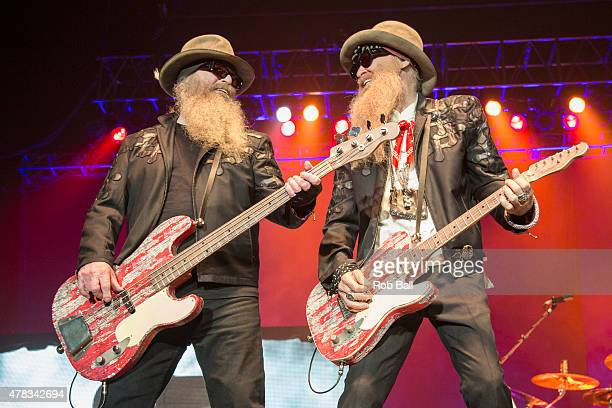 Dusty Hill and Billy Gibbons from ZZ Top perform at SSE Arena Wembley on June 24 2015 in London United Kingdom