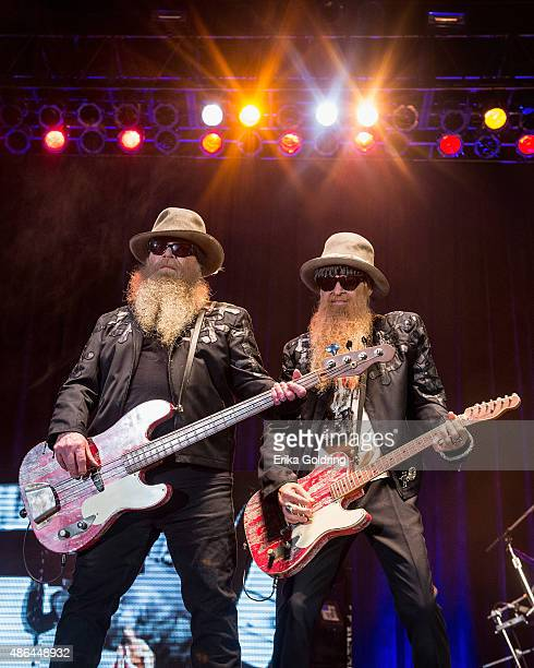 Dusty Hill and Billy Gibbons of ZZ Top perform at Champions Square on September 3 2015 in New Orleans Louisiana
