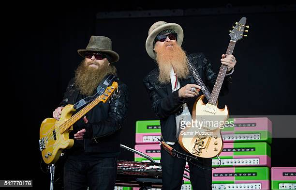 Dusty Hill and Billy Gibbons of ZZ Top perform at Glastonbury Festival 2016 at Worthy Farm Pilton on June 24 2016 in Glastonbury England