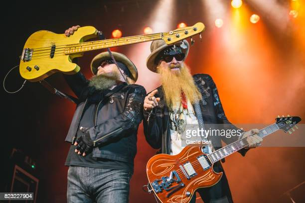 Dusty Hill and Billy Gibbons of ZZ Top perform at O2 Academy Glasgow on July 26 2017 in Glasgow Scotland