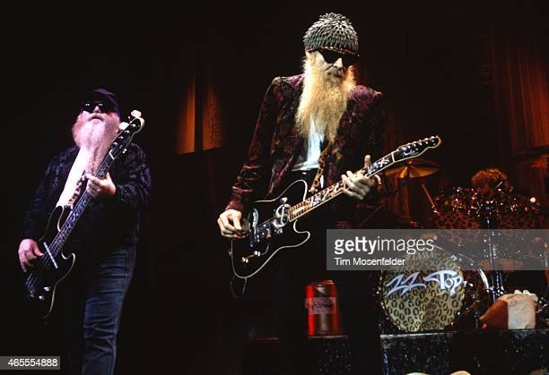 Dusty Hill and Billy Gibbons of ZZ Top perform at the Concord Pavilion on May 26, 1997 in Concord California.