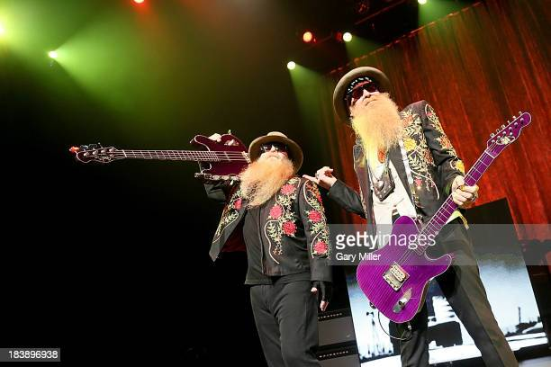 Dusty Hill and Billy Gibbons of ZZ Top perform in concert at ACL Live on October 9 2013 in Austin Texas