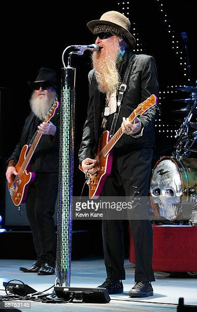Dusty Hill and Billy Gibbons of ZZ Top perform in concert at Nikon at Jones Beach Theater on June 26 2009 in Wantagh New York
