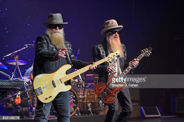 Dusty Hill and Billy Gibbons of ZZ Top performs at the Louisville Palace on February 24 2017 in Louisville Kentucky