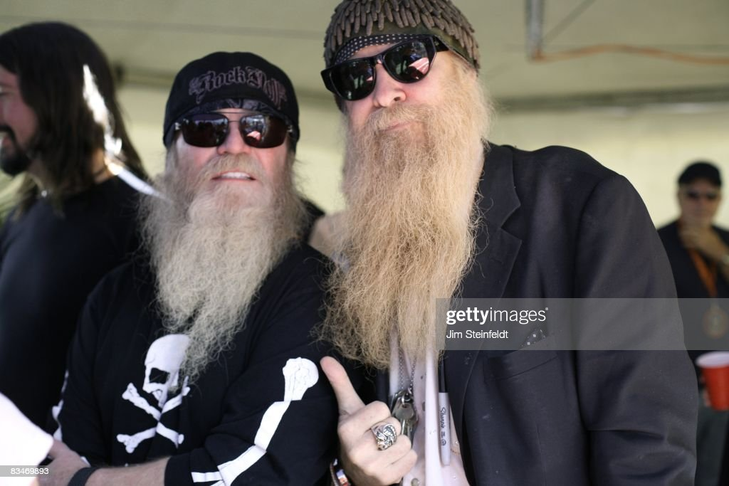 Dusty Hill bassist for ZZ Top and Billy Gibbons guitarist and singer for ZZ Top hang out backstage at the Tubes, Foo Fighters, ZZ Top concert for the 25th Anniversary Love Ride (the world's largest 1-day motorcycle fundraiser.) Held at the Fairplex in Pomona, California on October 26, 2008.