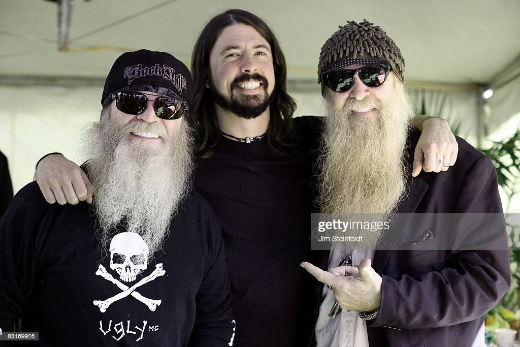 Dusty Hill bassist for ZZ Top, Dave Grohl guitarist and singer for The Foo Fighters and Billy Gibbons guitarist and singer for ZZ Top hang out backstage at the Tubes, Foo Fighters, ZZ Top concert for the 25th Anniversary Love Ride (the world's largest 1 day motorcycle fundraiser.) Held at the Fairplex in Pomona, California on October 26, 2008.