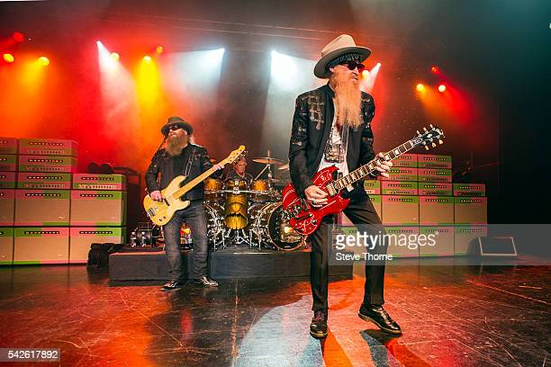 Dusty Hill Frank Beard and Billy Gibbons of ZZ Top perform at O2 Academy Birmingham on June 23 2016 in Birmingham England