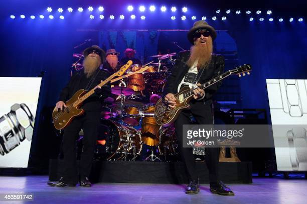 Dusty Hill Frank Beard and Billy Gibbons of ZZ Top perform at The Greek Theatre on August 13 2014 in Los Angeles California