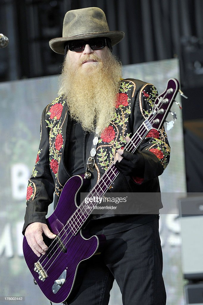 Dusty Hill of ZZ Top performs at Shoreline Amphitheatre on July 28, 2013 in Mountain View, California.