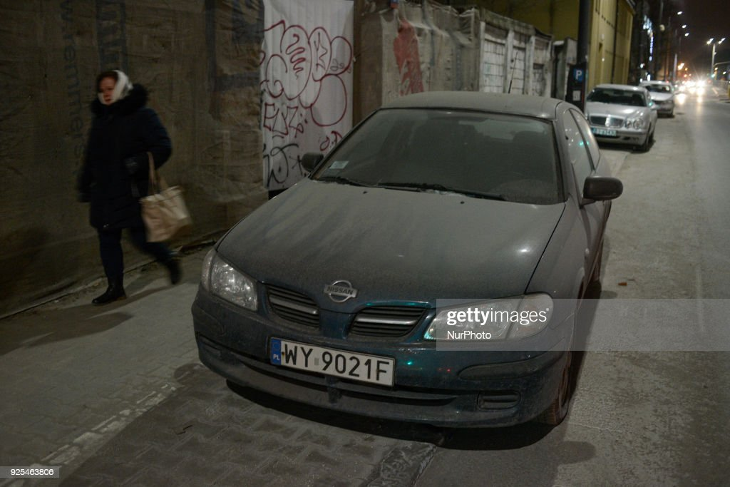 A dusty Nissan car is seen in Warsaw, Poland on February 27, 2018. Warsaw has some of the worst air pollution in the EU.