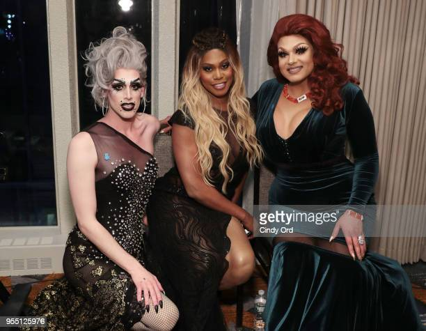 Dusty Ray Bottoms Laverne Cox and Alexis Michelle attend the 29th Annual GLAAD Media Awards at The Hilton Midtown on May 5 2018 in New York City