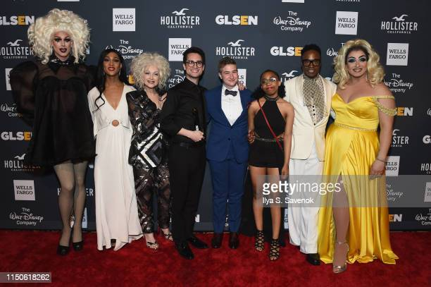 Dusty Ray Bottoms MJ Rodriguez Cyndi Lauper Brendon Urie Ace Schwarz Juno Adekunle Owens Billy Porter and Alexis Michelle attend the 2019 GLSEN...